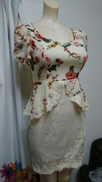 花柄ペプラム パフ袖 ナイトドレス