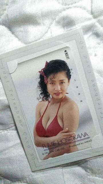 新品テレカ-細川ふみえ AMADA  < タレントグッズの