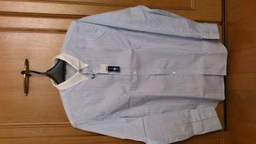 激安86%オフアクネ、長袖シャツ(新品タグ、青白ストライプ、L)