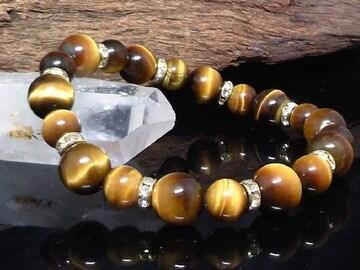 天然§タイガーアイ10ミリ§8ミリ§銀ロンデル数珠