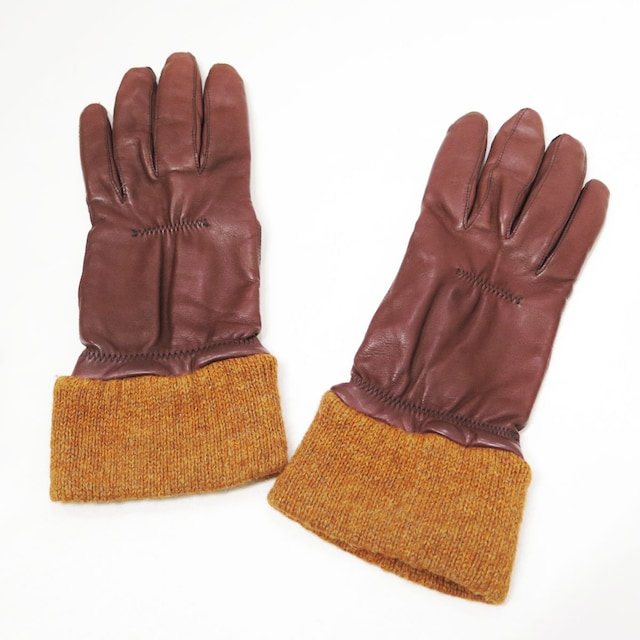 80s コムデギャルソン オム レザー ニット グローブ 手袋 ビンテージ 初期  < ブランドの