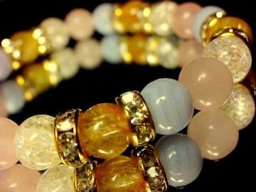ルチルクォーツ§ブルーレース§クラック水晶§ローズクォツ8ミリ金ロンデル数珠