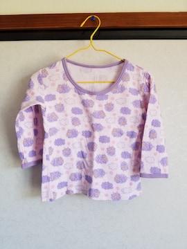 ピンクに紫のひつじ模様の長袖シャツ95
