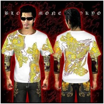 送料無料ヤクザ&悪羅悪羅系/オラオラ系昇り龍柄半袖Tシャツ服/14001白-L