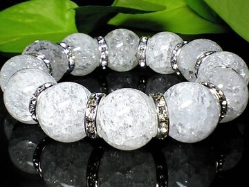 クラック爆裂水晶AAA16ミリ銀色ロンデル人気数珠