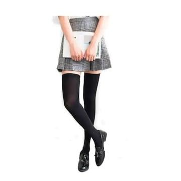 ベストセラー480円★柔らかサイハイソックス 超ロング黒