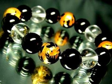 四神獣オニキス§水晶§天然黒瑪瑙12ミリ数珠