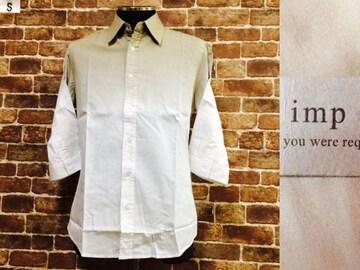 表記S/新品!imp.7分袖.ベージュ×白.グラデーションカラーシャツ.LHP.ラルフ