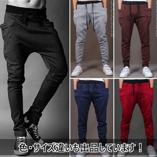 超人気★ジョガーパンツ スエット スリムフィット 紺 2L < 男性ファッションの