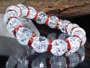 クラック水晶12ミリ§レッドロンデル数珠