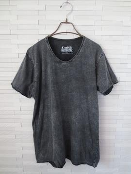 即決/Ouky/VINTAGE WASHプリントメンズ半袖Tシャツ/黒/L