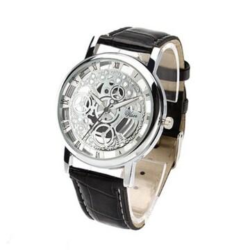 【秋特価!】腕時計 シルバー クォーツ メンズ スケルトン