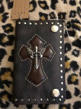スタッズ 本革製 二つ折り財布