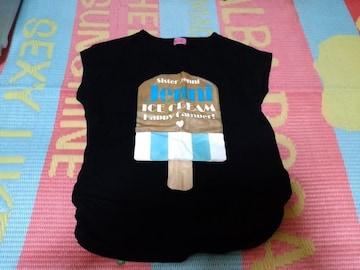 JENNIアイスクリームロゴ半袖Tシャツ160ブラック
