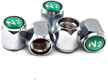 【新品】タイヤ バルブ ステム キャップ N2 窒素 サイン付き5個
