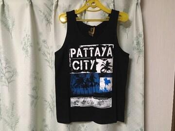 新品タイパタヤ購入メンズタンクトップ黒色ブラックPATTAYA CITY