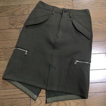 ネームName. カーキカラーミリタリースエット素材膝丈スカート