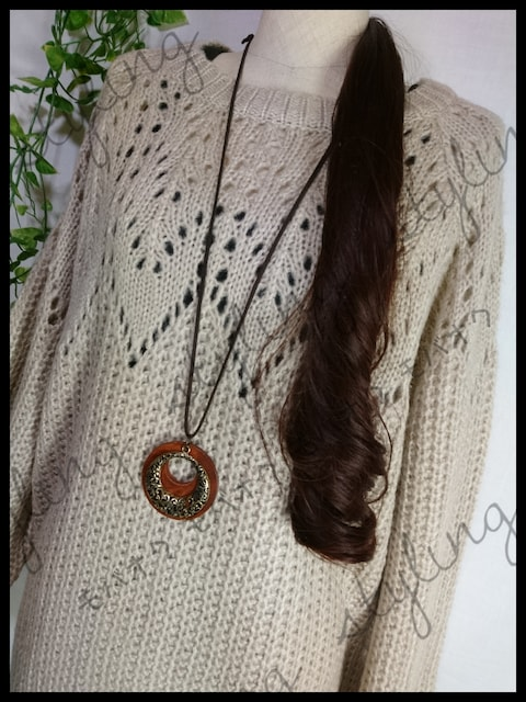 新品!大きいサイズ4L♪ボリューム袖模様編みニット☆ベージュ