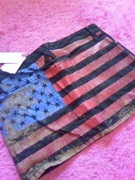 private beachバック一面国旗柄ブリーチ加工デニムミニスカ新品
