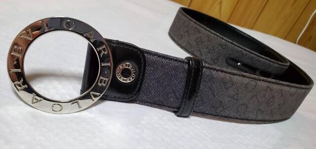 正規 ブルガリ B-zeroバックルロゴマニアベルト 黒×シルバー デニムコンビ 調節可  < ブランドの