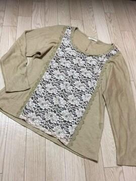 B599/axes femme/ベージュ/長袖/カットソー/