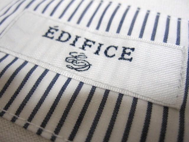 ☆EDIFICE/エディフィス 1B 七分袖 ポロシャツ/メンズ38(S)ホワイト☆新品 < 男性ファッションの