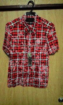 新品ロエン ラメストライプスカルチェックプリントシャツ46