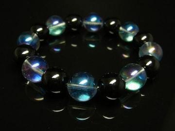 オーラの浄化 ブラックオニキス×ブルーオーラブレスレット 開運天然石数珠