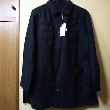 新品★バックスキン調ロールアップ袖サファリJk/黒/L