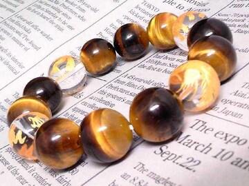 金四神獣水晶14ミリタイガーアイ14ミリ数珠