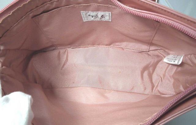 アニエスベー ハンドバッグ エナメル ピンク スター  < ブランドの