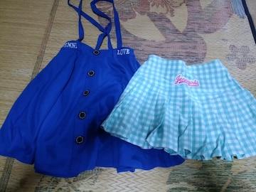 JN-ロゴスカート、ギンガムチェックスカッツ、セット160