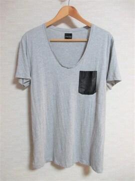 ☆ZARA ザラ デザイン ポケット Uネック Tシャツ 半袖/メンズ/L☆グレー