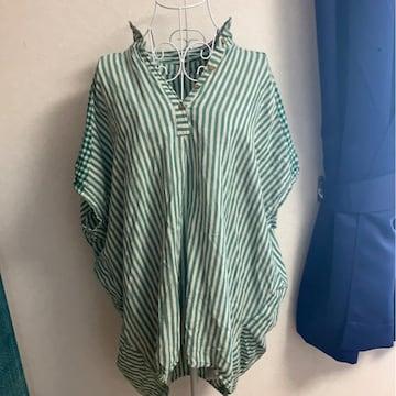 グリーン★ストライプ☆ナチュラル☆シャツ☆チュニック